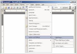 microsoft word menus mail merge techniques