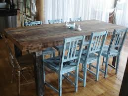 stunning rustic dining room decoration using rustic rectangular wooden slab dining table including ligth blue painted distressed wood dining chairs