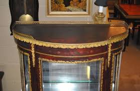 antique french style mahogany curved curio cabinet with