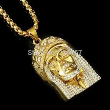 new fashion brand gold filled plated full crystal necklace with gold chain for men hip