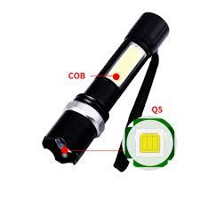 Đèn pin siêu sáng 2 trong 1 tích hợp đèn XPE và COB , sài pin sạc ,cáp usb  ,có hộp nhựa , có chế độ chớp zoom. - Đèn pin Thương