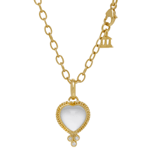 small 18k gold crystal heart pendant