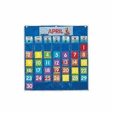 Details About Nylon Classroom Calendar Pocket Chart By Fun Express