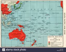 old map of south pacific war zone in wwii 's stock photo