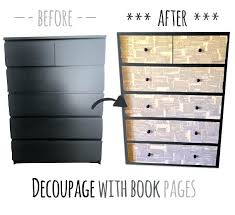 picture of beautify an dresser with decoupage technique ikea chest malm drawers glass top