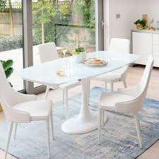 lille extending 4 6 seater dining table white glass