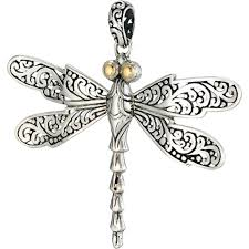 18k yellow gold sterling silver bali design dragonfly pendant with white topaz
