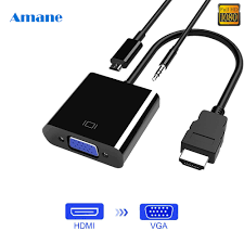 HDMI to VGA Adapter Cable Male To Famale Converter for PS4 1080P Digital to  Analog Video Audio For PC Laptop Tablet|HDMI Cables