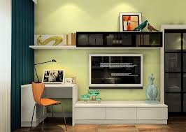 bedroom with tv and desk. Minimalist Desk And TV Cabinet Combo With Pale Green Wall Bedroom Tv