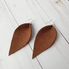 reverse teardrop leather earrings