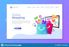 Buy Web Page Design Landing Page Template Of Online Shopping Modern Flat Design