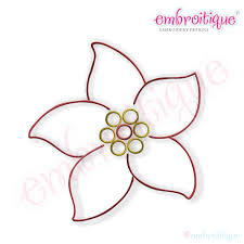 Embroitique Simple Christmas Poinsettia Embroidery Design Large
