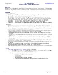 Resume Template Qa Analyst Resume Sample Free Resume Template