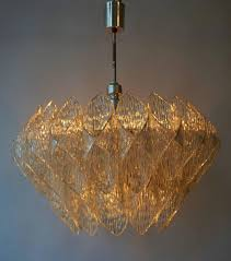 vintage italian chandelier with amber tint and clear murano glass