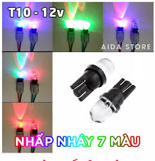 Bóng đèn LED T10 nhấp nháy 7 màu cho demi xi nhan mặt đồng hồ xe máy