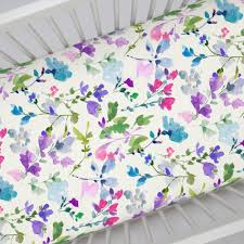 bright wildflower crib sheet