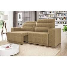 sofá 3 lugares net lord ento retrátil e reclinável amado bege