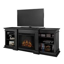 a console electric fireplace in black