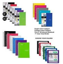Five Star Binders Notebook 1 3 Subject Graph College Ruled Paper