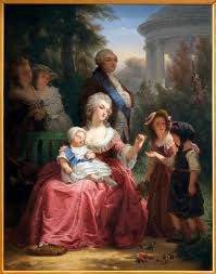 a painting of louis xvi and marie antoinette in the gardens of versailles by charles
