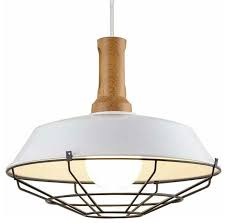wire cage industrial pendant lamp wood barn white pendant light fixture farmhouse pendant lighting by highlight usa llc