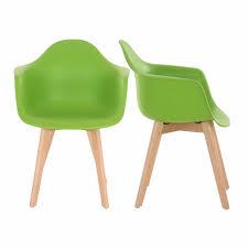 2er Set Retro Esszimmerstühle Kunststoff Schale Grün Maco Shop