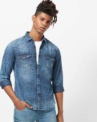 Indigo Nation Size Chart Slim Fit Washed Denim Shirt