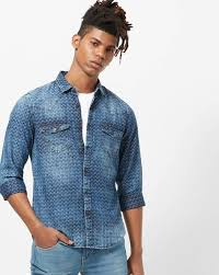 Slim Fit Washed Denim Shirt