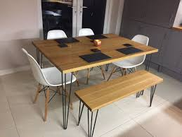 Solid Oak Dining Tablehairpin Leg Table Solid Oak Kitchen Table