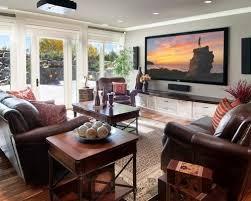 family room with tv. mid-sized elegant medium tone wood floor family room photo in calgary with gray walls tv o