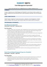 Cash Management Officer Sample Resume