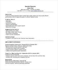Resume Objectives For Medical Assistant Resume Samples Medical