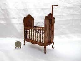 miniature doll furniture. Miniature 1:12 Scale Doll House Wood Carved Crib [Walnut] Furniture