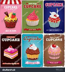 Cupcake Poster Design Vintage Cupcake Poster Design Set Stock Vector Royalty Free