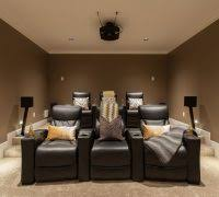 home theater step lighting. home theatre seating theater craftsman with black chairs brown walls step lighting