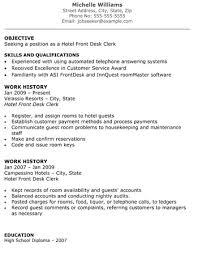 Hotel Front Desk Clerk Resume Front Desk Jobs Resume Examples By