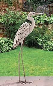 egret garden pond statue metal coastal