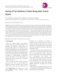 Design And Construction Of Solar Fish Dryer Pdf Drying Of Fish Sardines In Oman Using Solar Tunnel Dryers