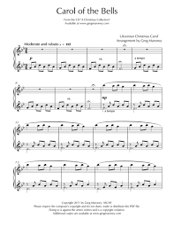 Music Spreadsheet Carol Of The Bells By Greg Maroney Digital Sheet Music For