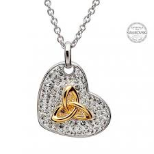 trinity knot heart pendant encrusted with white swarovski crystals house of claddagh irish collections