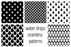 Drops Patterns Inspiration Set Of Vector Water Drops Seamless Patterns In Black And White By