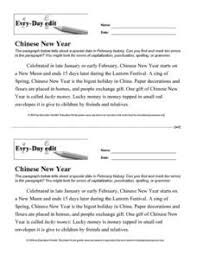every day edit chinese new year th th grade worksheet  every day edit chinese new year worksheet