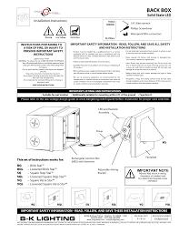 Bk Lighting Lite Manualzz Com
