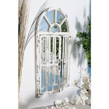 litton lane arched window distressed white decorative wall mirror