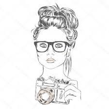 Photostock Vector Cartoon Cute Girl Face With Camera Vector
