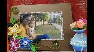 how to make simple paper quilling photo frame design