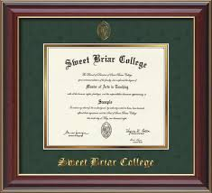 diploma frames sweet briar college the book shop diploma frame 14x11 cherry lacquer green suede