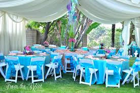 party tent and guest tables from a vintage glamorous little mermaid birthday party on kara s