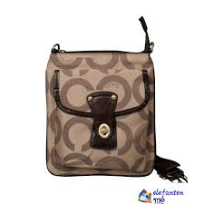 Coach Turnlock Signature Small Camel Crossbody Bags