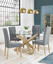turin aged oak glass top dining table prev
